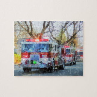 Firefighters - Line of Fire Engines in Parade Jigsaw Puzzle