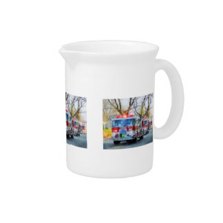 Firefighters - Line of Fire Engines in Parade Drink Pitcher
