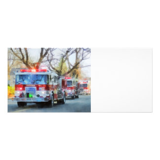 Firefighters - Line of Fire Engines in Parade Rack Card