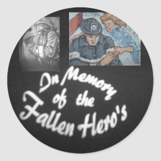 firefighters memorial classic round sticker