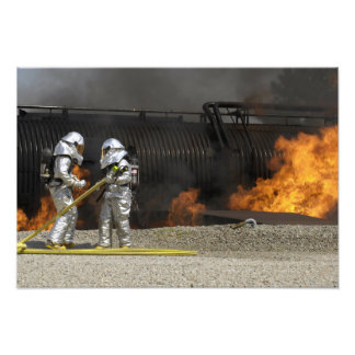Firefighters neutralize a live fire photo print