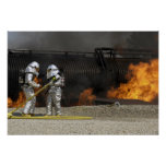 Firefighters neutralize a live fire poster