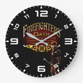 Firefighters Oath Large Clock