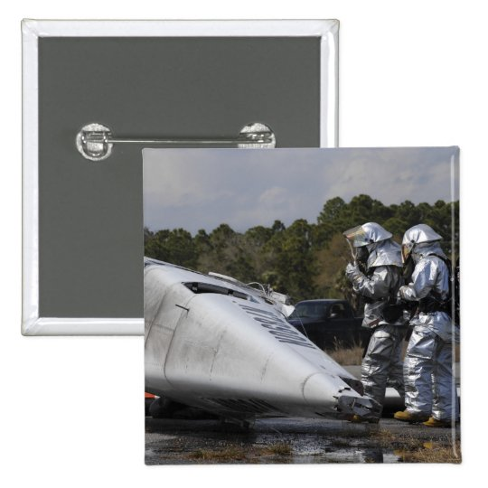Firefighters respond to the scene pinback button