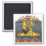 Firefighters Rock Guitar 2 Inch Square Magnet
