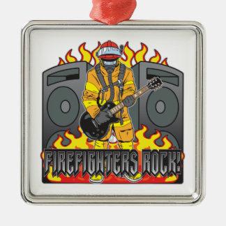 Firefighters Rock Guitar Metal Ornament