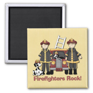 Firefighters Rock 2 Inch Square Magnet