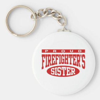 Firefighter's Sister Basic Round Button Keychain