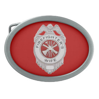 Firefighter's Wife Badge Oval Belt Buckle