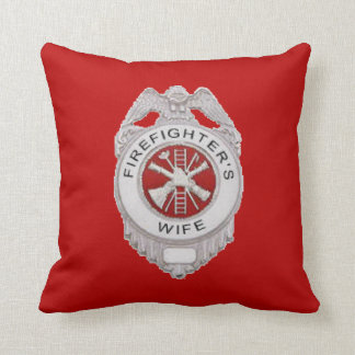 Firefighter's Wife Badge Throw Pillow