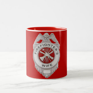 Firefighter's Wife Badge Two-Tone Coffee Mug