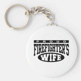 Firefighter's Wife Basic Round Button Keychain