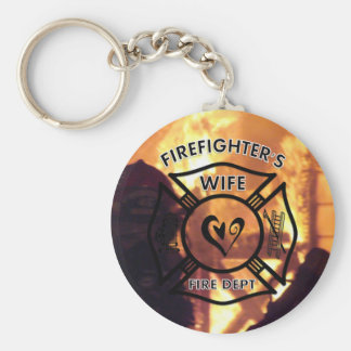 Firefighters Wife Basic Round Button Keychain