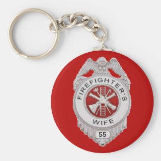 Firefighter's Wife Custom Basic Round Button Keychain