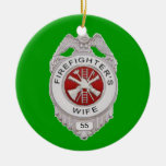 Firefighter's Wife Custom Double-Sided Ceramic Round Christmas Ornament
