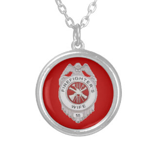 Firefighter's Wife Custom Round Pendant Necklace