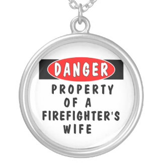 Firefighter's Wife Danger Round Pendant Necklace