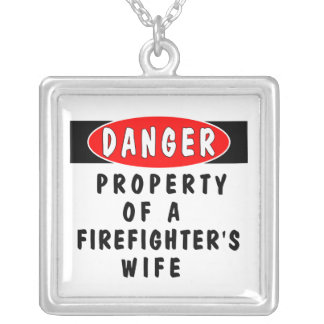 Firefighter's Wife Danger Square Pendant Necklace