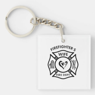 Firefighters Wife Double-Sided Square Acrylic Keychain