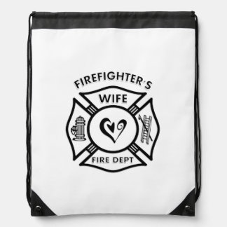 Firefighters Wife Drawstring Bags