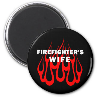 Firefighter's Wife Flames 2 Inch Round Magnet