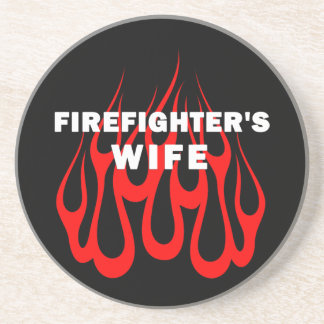 Firefighter's Wife Flames Beverage Coaster