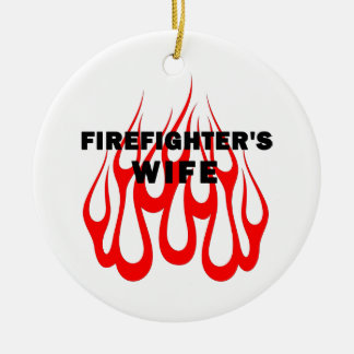 Firefighter's Wife Flames Double-Sided Ceramic Round Christmas Ornament