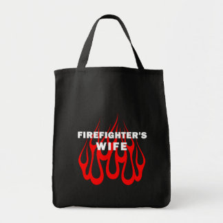 Firefighter's Wife Flames Grocery Tote Bag