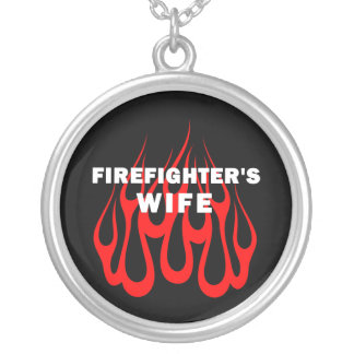 Firefighter's Wife Flames Personalized Necklace