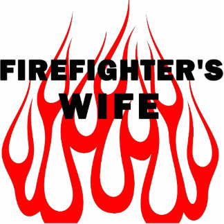 Firefighter's Wife Flames Photo Sculpture Ornament