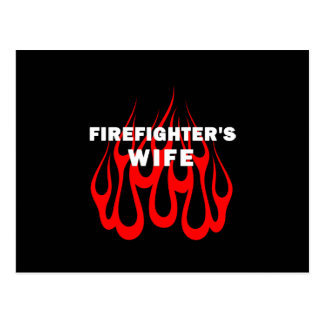 Firefighter's Wife Flames Postcard