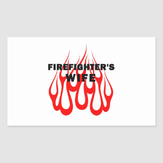 Firefighter's Wife Flames Rectangular Sticker