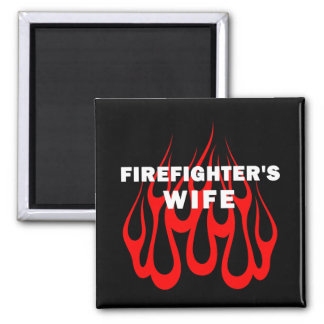 Firefighter's Wife Flames Refrigerator Magnet