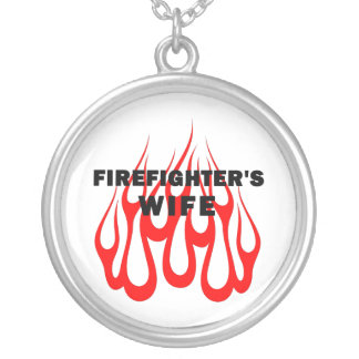 Firefighter's Wife Flames Round Pendant Necklace