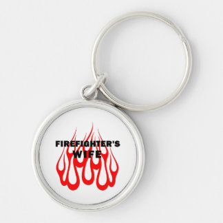 Firefighter's Wife Flames Silver-Colored Round Keychain