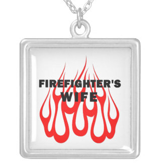 Firefighter's Wife Flames Square Pendant Necklace