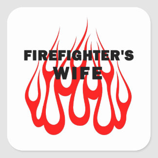 Firefighter's Wife Flames Square Sticker