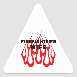 Firefighter's Wife Flames Triangle Sticker