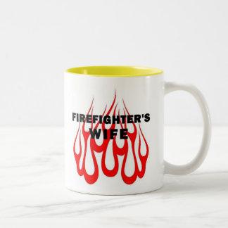 Firefighter's Wife Flames Two-Tone Coffee Mug