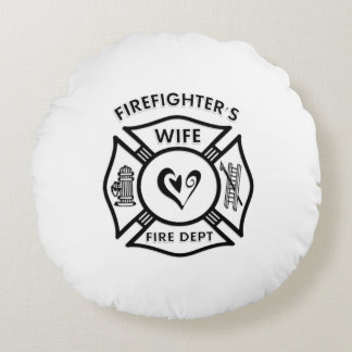 Firefighters Wife Heart Round Pillow