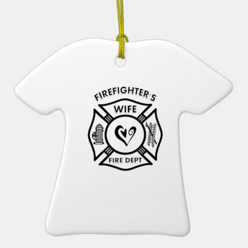 Firefighter's Wife Double-Sided T-Shirt Ceramic Christmas Ornament