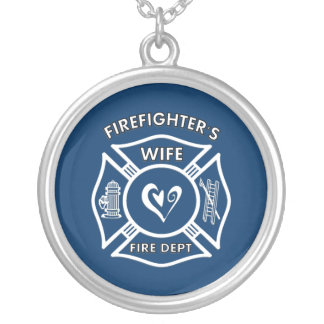 Firefighter's Wife Round Pendant Necklace