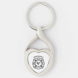 Firefighters Wife Silver-Colored Heart-Shaped Metal Keychain
