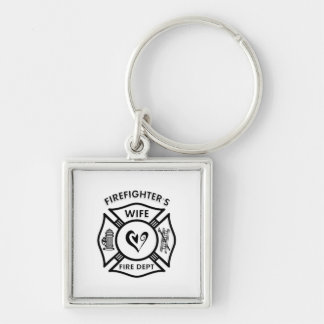 Firefighters Wife Silver-Colored Square Keychain
