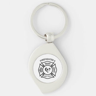 Firefighters Wife Silver-Colored Swirl Metal Keychain