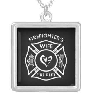 Firefighter's Wife Square Pendant Necklace