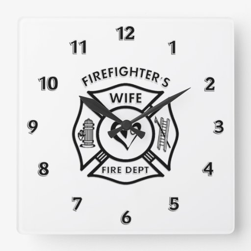 Firefighters Wife Square Wallclocks