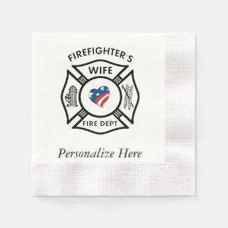 Firefighters Wife USA Napkin