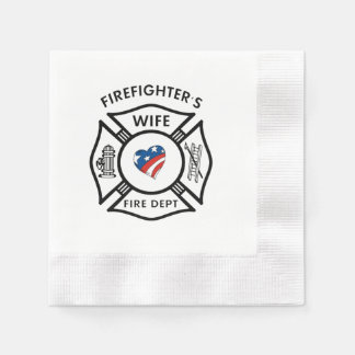 Firefighters Wife USA Disposable Napkin