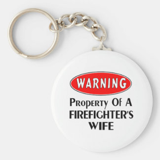 Firefighters Wife Warning Basic Round Button Keychain